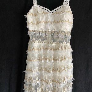 Dresses & Skirts - Super cute white & tan fringe bandeau maxi dress
